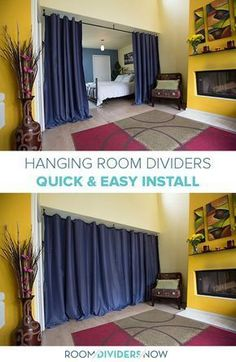 Easy to install Hanging Room Dividers from RoomDividersNow Divide small spaces w. Easy to install Hanging Room Dividers from RoomDividersNow Divide small spaces with these DIY curta Room Divider Headboard, Metal Room Divider, Small Room Divider, Office Room Dividers, Fabric Room Dividers, Bamboo Room Divider, Wooden Room Dividers, Living Room Divider, Room Divider Walls