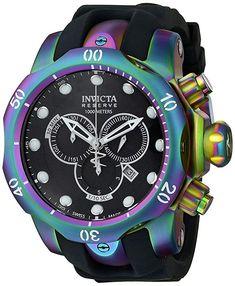 Invicta Men's 15984 Venom Analog Display Swiss Quartz Black Watch Invicta Venom Watches, Rolex Watches, Patek Philippe, Relogio Invicta Pro Diver, Devon, Cool Watches, Watches For Men, Cartier, Tag Heuer