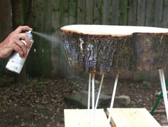 Apply a clear finishing spray to the live bark edge to preserve and keep from shedding indoors. Rustic End Tables, Diy End Tables, A Table, Trunk Table, Live Edge Furniture, Rustic Furniture, Furniture Ideas, Furniture Design, Wood Slab Table