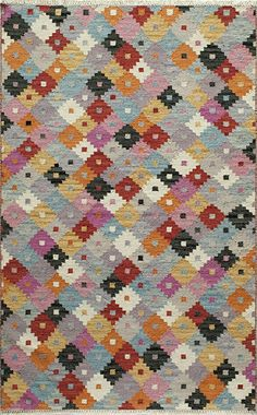 Momeni Caravan CAR-05 Multi Area Rug - Bright fun colors give a modern twist to the traditional kilim patterns found in the Momeni Caravan Collection.