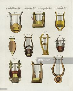 Ancient Greek and Roman musical instruments: different forms of lyres or harps 1,3,4,5,7,8,10, and lyres in the form of guitars 2,6,9. Handcoloured copperplate engraving from Friedrich Johann Bertuch's Bilderbuch fur Kinder (Picture Book for Children), Weimar, 1802.