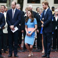 Catherine curtseying to The Queen. Pictured with husband, Prince William, and Prince Harry (right). - Sunday 12 June 2016.