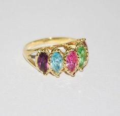 Vintage Ring Gold Tone with Multi Color Stones  by SCLadyDiJewelry