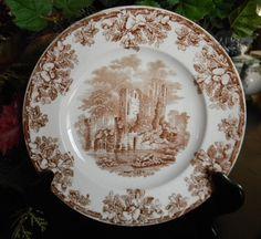 Copeland Spode circa 1880 English Abbey Ruins Brown Transferware Plate Oak Leaves Acorns. $34.99, via Etsy.