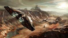 Planetary landing concept art from Elite:Dangerous video game