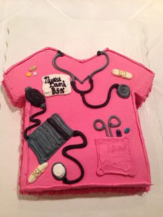 My Nurse Graduation Cake....chocolate and vanilla swirl cake with real buttercream icing---no fondant!!! Tasted amazing!!!