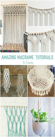 Amazing Macrame Tutorials (U Create) Macrame is back and it's everywhere! Find it as wall art, curtains, backdrops, jewelry, and even furniture! Here are some of the most amazing macrame tutorials out there! Once you get started you wo Yarn Crafts, Diy And Crafts, Arts And Crafts, Macrame Projects, Craft Projects, Craft Tutorials, Macrame Curtain, Macrame Wall Hangings, Ideias Diy