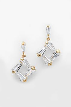 new shape, nice combination to play with - doesn't swarovski have a new shape out? CZ Taylor Earrings in Gold on Emma Stine Limited
