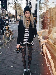 Rosey Jones - Vans Slip On Shoes, H&M Black Denim Shorts, H&M Black Denim Jacket - Amsterdamned