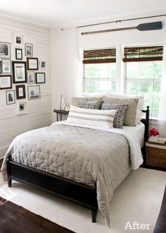Love this look for my mudroom - walls (they are called clapboard) and rolled bamboo shades. #MasculineBedding