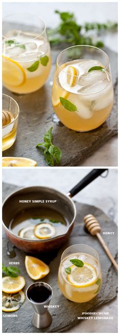 A simple syrup made of honey and water is a much smoother & less sugary sweetener in my Whiskey Lemonade #recipe on foodiecrush.com #cocktail #summerdrinks #lemonade
