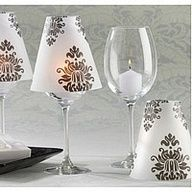 Damask Vellum Candle Shades Wine glasses turned to mini lamps! Table Baroque, Wedding Favors, Wedding Decorations, Wedding Ideas, Wedding Reception, Wedding Table, Table Decorations, Table Centerpieces, Wedding Centerpieces