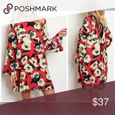 LAST 1! ❤️ Beautiful Red Floral Dress Stunning fit with bell sleeves- crisscross back accent - length is 34 inches- fit is true to size Dresses