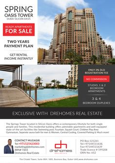 SPRING OASIS TOWER.  ONLY 2% DLD REGISTRATION FEE, TWO YEAR PAYMENT PLAN. EXCLUSIVE WITH DREHOMES REAL ESTATE.  TO BOOK AN APARTMENT CALL US NOW: +971525423003 Single People, Apartments For Sale, Bedroom Apartment, Oasis, Dubai, Tower, Real Estate, How To Plan, Studio