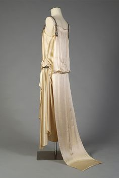 1923, France - White satin evening dress with train by House of Worth