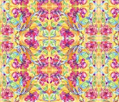 ny_floralpink_rosesSPN fabric by edzellinni on Spoonflower - custom fabric