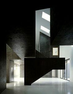Bold forms in conrete in the Casa dos Cubos/Centro de Monotorizacao e Interpretacao Ambiental de Tomar. by EMBAIXADA arquitectura.