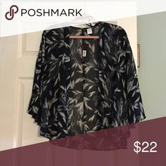 NWT flowing open front blouse A little longer than three quarter sleeves. Black with gray and white feather pattern. Open front, sheer and flowy. Material Girl Tops Blouses
