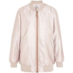 Acne Studios Selow satin-faille bomber jacket found on Polyvore featuring outerwear, jackets, acne, acne studio, bomber, pink, flight bomber jacket, pink satin jacket, oversized bomber jacket and pink jacket