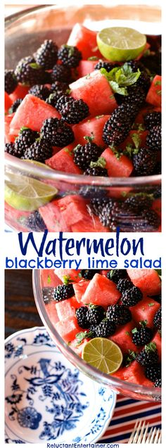 Watermelon Blackberry Lime Salad, the ultimate party, picnic, holiday, potluck, barbecue, or summer dish to serve for easy entertaining!