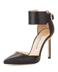 Chaantasta Ankle-Band Leather Pump, Black by Manolo Blahnik at Neiman Marcus.