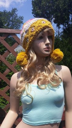 Yellow Wool Knitted Beanie Hat Boho Cap by TheBuenaVistaGallery