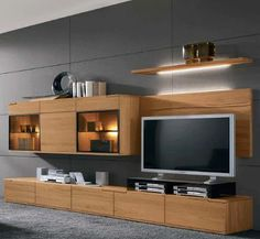 contemporary wall tv furniture Would love this for game room Tv Unit Furniture Design, Tv Unit Design, Tv Furniture, Modern Tv Units, Muebles Living, Kerala House Design, Living Room Tv, Home Interior Design, Living Room Designs