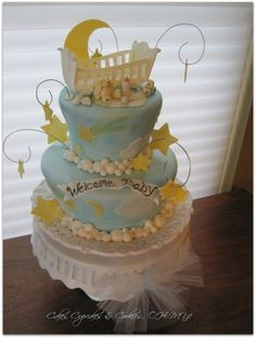 Yellow and blue moon baby shower cake: b is for boy baby shower