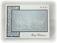 ~~Heart's Delight Cards~~: Lovely as a tree stamp set, heat embossed on brushed silver cardstock (Cindy Elam)