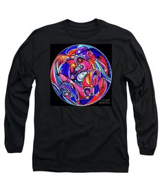 Bright Ball Of Swirls Enhanced With Black Outlines .black Background.blue Dominates .thje Rest Of The Rainbow Is Present Too. Long Sleeve T-Shirt featuring the painting Ecosphere by Expressionistartstudio Priscilla-Batzell