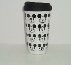 Disney Store Mickey Mouse Lid Travel Coffee Tea Cup Mug Tumbler Ceramic New