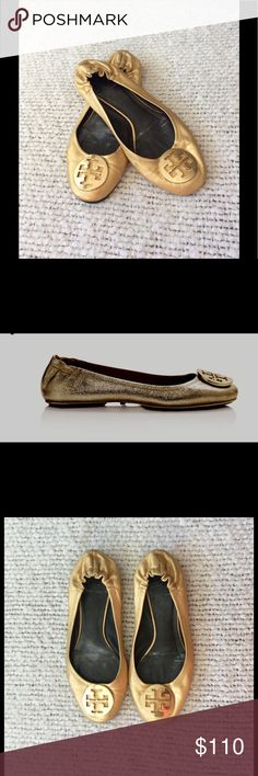Tory Burch Gold Reva Flats Gorgeous shoes sure to rev up your work outfits!  These are classics!  And worn very little.  No defects to note! Tory Burch Shoes Flats & Loafers