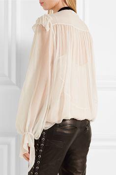 Chloé | Velvet-trimmed ruffled silk-crepon blouse | NET-A-PORTER.COM