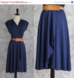 70s Dress 1970s Dress Disco Dress Navy Blue by SassySisterVintage