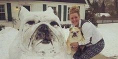 LOOK: Bulldog-Shaped Snowman Totally Wins At Everything....awesome!!