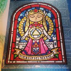 Zelda is ready now, i really love this one so much. #pixelart #art #perler #nabbi #nabbibeads #hama #hamabeads #perlerbeads #crafting #color #beadsprites #whatIdidtoday #thelegendofzelda #legendofzelda #link #zelda #theminishcap #zeldastainedglass #giantbeadsprites #giantperlerproject #somanybeads #gameboyadvance #nintendo #ontoironing #thanksforfollowing