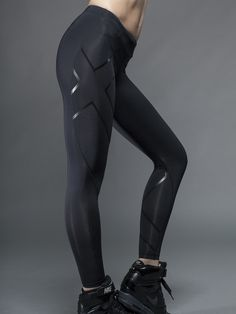 2XU Compression Tights in Black/Blue