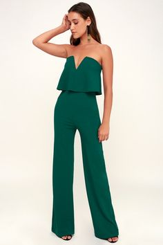 ac718e052631 Power of Love Emerald Green Strapless Jumpsuit