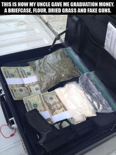 briefcase full of money, drugs and a gun --gag gift