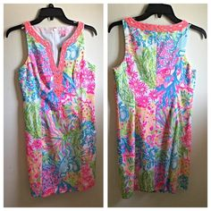 "Lilly Pulitzer shift dress, SZ 2 Shift Dress With Cording And Beading Details Around A Notched Neckline. 20"" From Natural Waist To Hem. Vintage Dobby (100% Cotton). Hand Wash Cold. Imported.  Paid $198 No low ball offers! Lilly Pulitzer Dresses Midi"