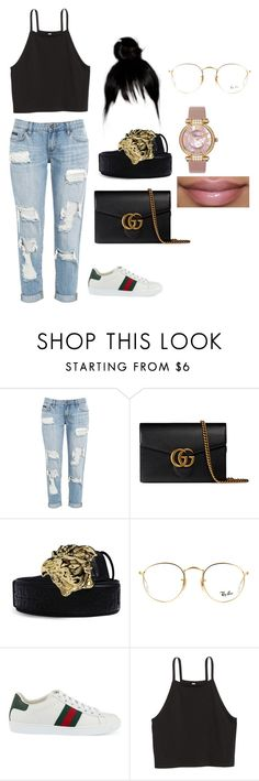 """prom shopping with harmony"" by conceitedlo ❤ liked on Polyvore featuring Gucci, Versace, Ray-Ban and Chopard"