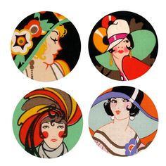 Vintage Ladies Art Deco With Hats 1 Inch Pinback Buttons or Magnets or Flatback Medallion Charms. $5.00, via Etsy.