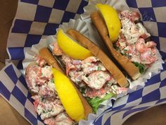Three lobster rolls.