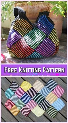 Knit Garter Stripe Square Bag Free Knitting Pattern