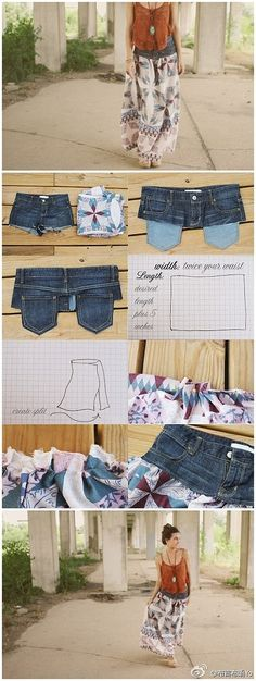 Sew top of jeans onto skirt material @ DIY Home Cuteness
