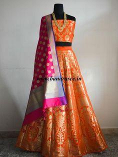 Banarasee/Banarasi Handwoven Art Silk Unstitched Lehenga & Blouse Fabric-Orange