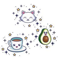 Multi Love tattoo, coffee, an avocado, stars and a cat by Tattoonie Premium Temporary Tattoos. #tattooforaweek #temporarytattoo #multilove #coffee #avocado #stars #cat #tattoos #tattoonie