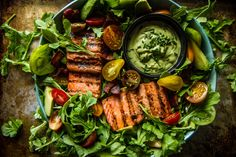 BLT+Salmon+Salad+with+Creamy+Avocado+Green+Goddess+Dressing