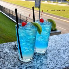 ELECTRIC BLUE MOUNTAIN  Gin Bacardi Rum Tequila Citron Passion Fruit Vodka  Blue Curaçao Simple Syrup Lime Juice Lemonade Blue Mountain Dew Cherry & Lime  Instagram photo credit: @beachbartender Post your original recipe and photo on Instagram using #TipsyBartender and we will repost the best ones. Each month, the pics with most likes wins $300, 2nd Place $200, 3rd Place: $100.  #gin #party #fun #alcohol #drinks #cocktail #bacardi #rum