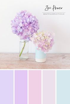 Pastel Hydrangeas Colour Palette in shades of purple and pink from lilac to lavender to dusky rose with a hint of baby blue © Zoë Power Lila Palette, Pastel Colour Palette, Blue Colour Palette, Pastel Colors, Pastel Purple, Lavender Color Scheme, Pink Blue, Vintage Colour Palette, Lavender Walls